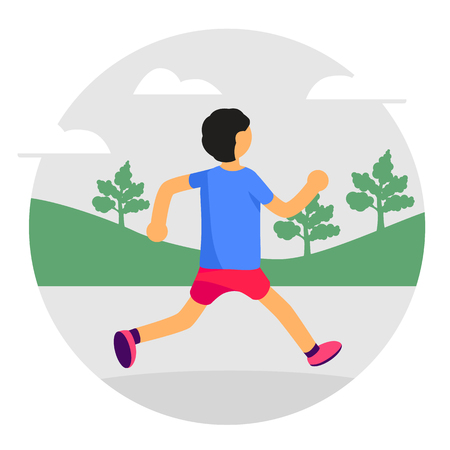 Man running in park. Forest, trees and hills on background. Banner, site, poster template. Healthy lifestyle. Vector illustration 向量圖像
