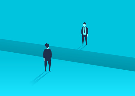 Business comunication or negotiation problems, issues. Two businessmen with gap between them. Vector illustration. Фото со стока - 128488976