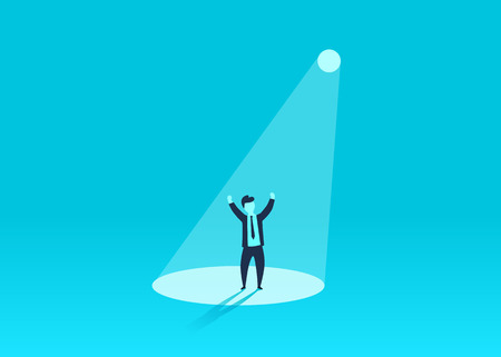 Businessman in spotlight. Human resource recruitment. Person success, employee and career. Vector illustration Illustration