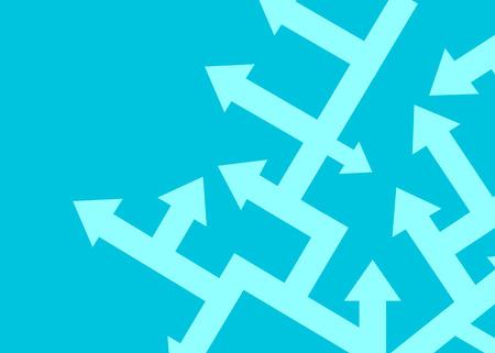 Las flechas apuntan en diferentes direcciones. El concepto de resolución de problemas. Ilustración vectorial