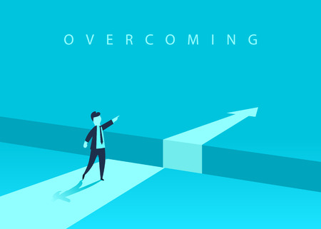 Businessman standing in front of the obstacle, gap on the way to success, business concept of solving the problem. Problems and overcoming obstacles. Vector illustration Vettoriali