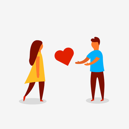 Man proposing heart to woman. Valenine day. Love and relationship. Vector illustration
