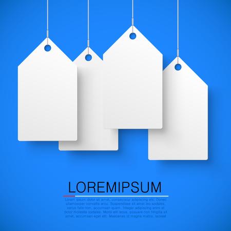 Vier grote witte tags met het woord verkoop. vector illustratie