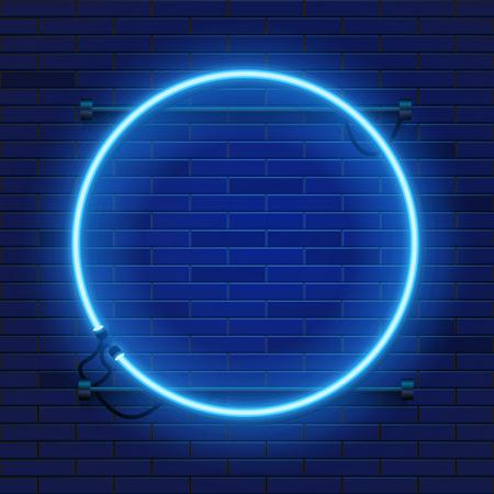Neon lamp circle frame on brick wall background. Las Vegas concept. Vector illustration. Vetores