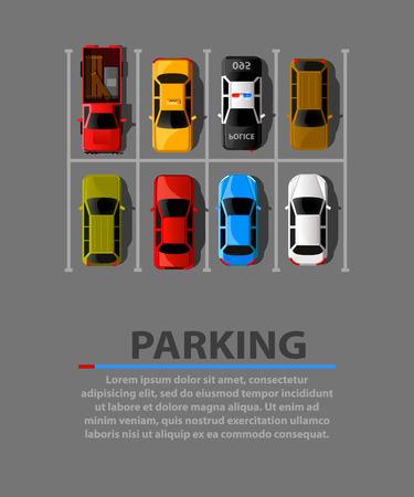 Bannière web de vecteur de stationnement de ville. Pénurie de places de stationnement. Beaucoup de voitures dans un parking bondé. Zone de stationnement. Illustration vectorielle