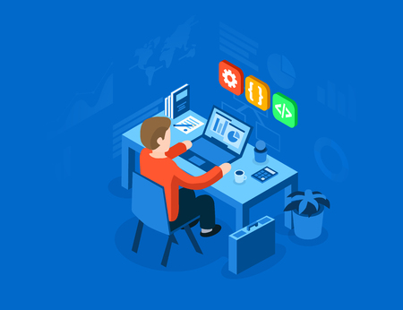 Programmer at work concept. Can use for web banner, infographics, hero images. Flat isometric vector illustration