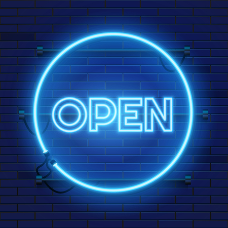 Neon open sign in circle shape on a brick wall background. Round the clock working bar or store signboard with lettering. Vector illustration. Векторная Иллюстрация
