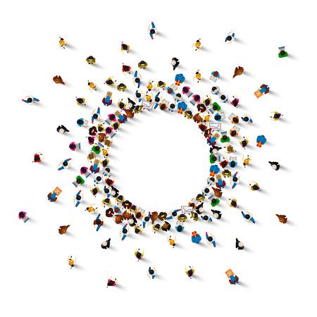 Mucha gente se para en un círculo sobre un fondo blanco. Ilustración vectorial Ilustración de vector