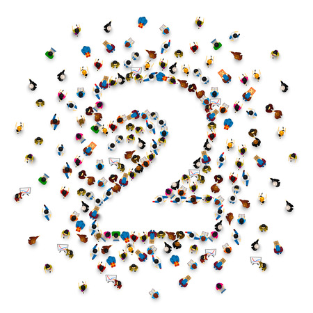 Large group of people in number 2 two form. People font . Vector illustration Stock Illustratie