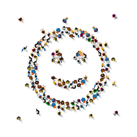 Viele Leute unterschreiben Emoji auf dem weißen Hintergrund. Vektor-Illustration