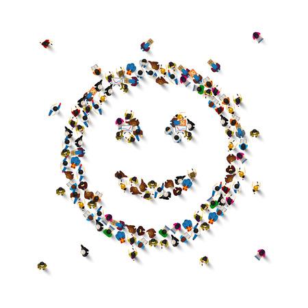 Wiele osób podpisuje emoji na białym tle. Ilustracja wektorowa