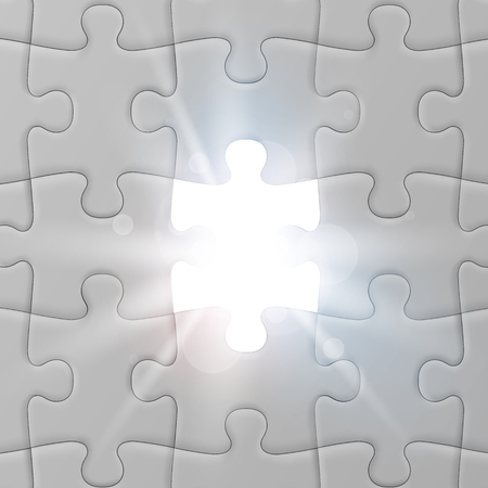 White jigsaw puzzle with missed and shining piece. Solution concept. Vector illustration Ilustração