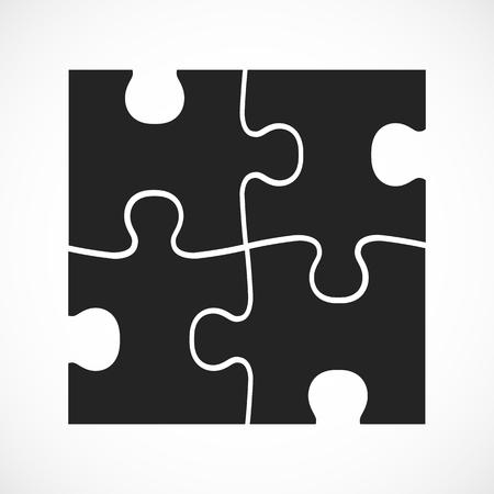 Four piece flat puzzle. Section compare service banner. Vector illustration Ilustração