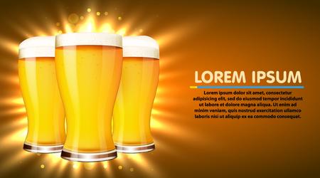 Glass of beer isolated on white background. Oktoberfest poster. Vector illustration