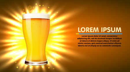 Glass of beer isolated on white background. Oktoberfest poster. Vector illustration