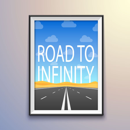 Photo frame on the wall, road to infinity highway, road in the desert, Vector illustration, road background . 向量圖像