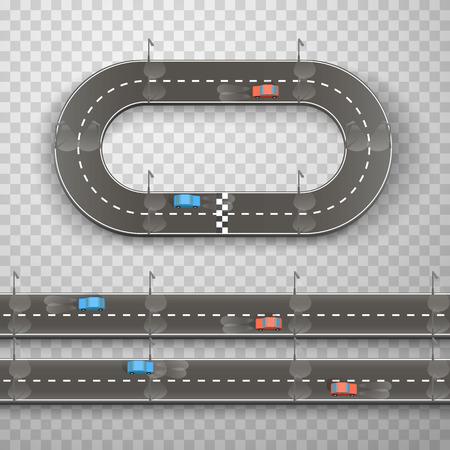 Racing on the road art on a transparent background. Vector illustration Illusztráció