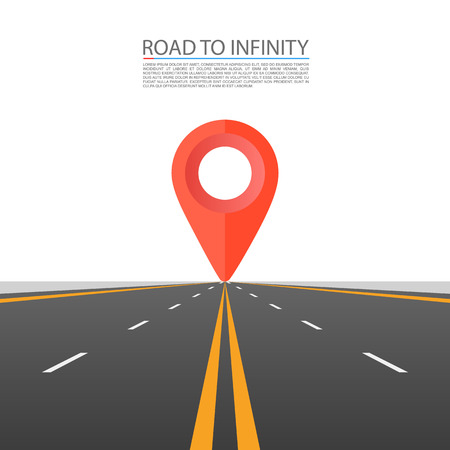 Road to infinity, Road vector highway, Vector illustration, Road sky background. 스톡 콘텐츠 - 128489093
