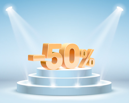 Podium with share discount percentage. Vector illustration