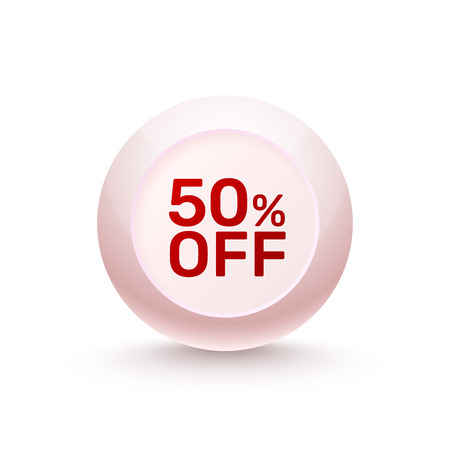 Sphere banner Promotional Offer 50 off on the white background. Vector illustration