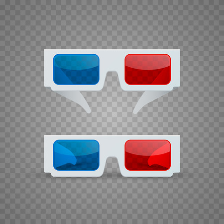 3D glasses object set on a transparent background. Vector illustration Illustration