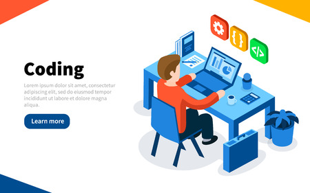 Programmer at work concept. Coding or online programming education. Flat isometric vector illustration. Web Page template.