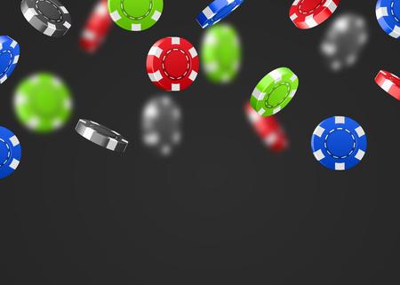 Red flying falling casino poker chips isolated on white background. Jackpot or winner concept. Vector illustration