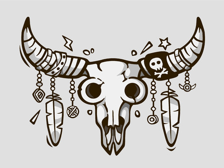 Boho chic. Ethnic tattoo style. Native american or mexican bull skull with feathers on horns. Vector illustration