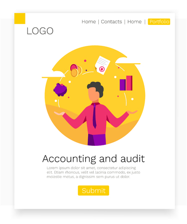 Accounting and audit web design concept. Modern colorful design. Landing page template.