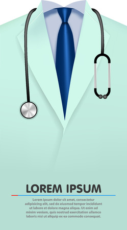Close up of a doctors lab bathrobe. Vector background Vector Illustration