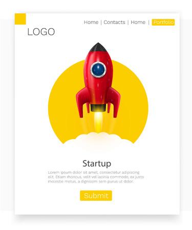 Space rocket launch. Startup creative idea. Landing page concept. Vector illustration