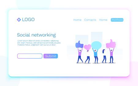 Web page. Social media or network concept. Landing page concept. Vector illustration Stock fotó - 109487792