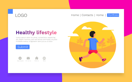 Healthy lifestyle. Man running in park. Banner, site, poster template. Landing webpage concept. Vector illustration 向量圖像