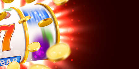 Golden slot machine with flying golden coins wins the jackpot. Big win concept. Vector illustration Vettoriali