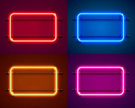 Letrero de neón en forma de cuadrado. Establecer color. elemento de diseño de plantilla. Ilustración vectorial