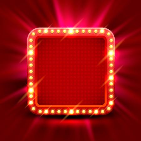 Neonrahmenzeichen in Form eines Kreises. Schablonengestaltungselement. Vektorillustration Vektorgrafik