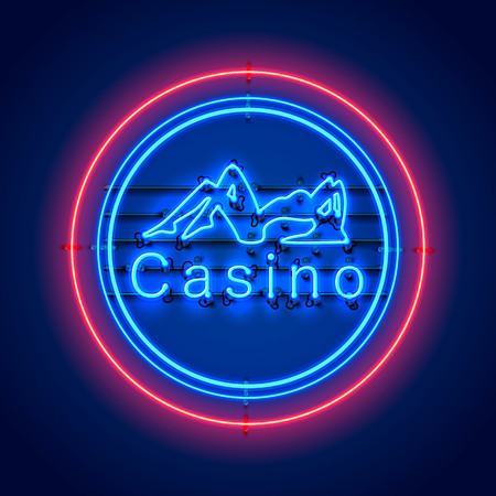 Neon Casino sexy girl signboard on the red background. Vector illustration