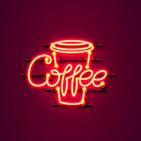 Neon coffee text icon signboard on the red background. Vector illustration