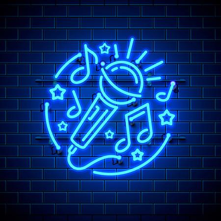 Neon label music karaoke banner. template design element. Vector illustration