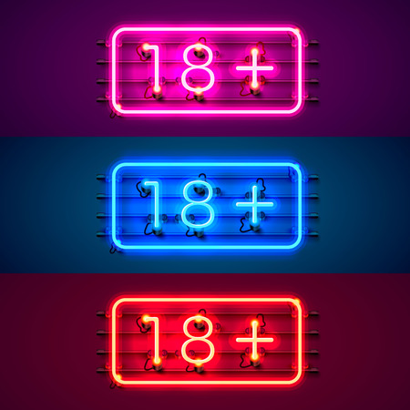 Neon signboard 18 plus color set. Vector illustration