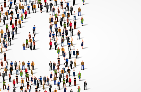 Duża grupa ludzi w liczbie 4 w formie czteroosobowej. Tło wektor Ilustracje wektorowe