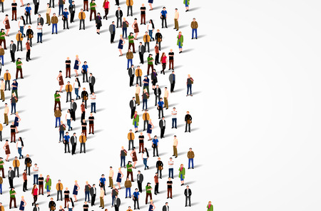 Large group of people in number 0 zero form. Vector background