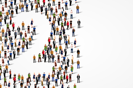 Large group of people in number 2 two form. Vector background Stock Photo