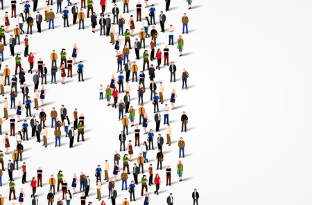 Large group of people in number 3 three form. Vector background Stock Photo