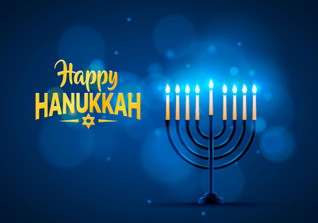 Happy Hanukkah background cover, card celebration text. Vector illustration