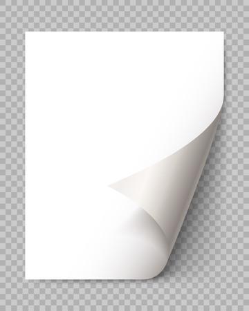 Doblez de página con sombra en la hoja de papel en blanco. Etiqueta engomada de papel blanco. Elemento de mensaje publicitario y promocional aislado sobre fondo transparente. elemento de diseño de plantilla, ilustración vectorial