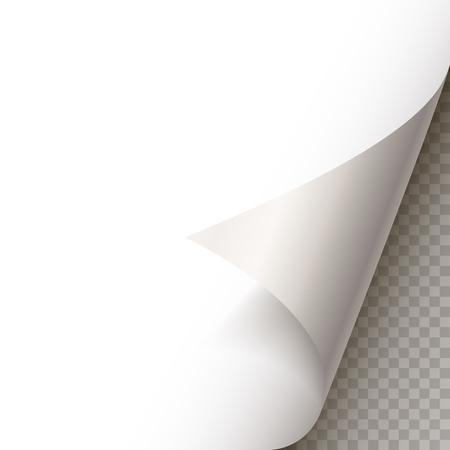 Arricciatura della pagina con ombra sul foglio di carta bianco. Adesivo di carta bianca. Elemento per messaggio pubblicitario e promozionale isolato su sfondo trasparente. elemento di design del modello, illustrazione vettoriale