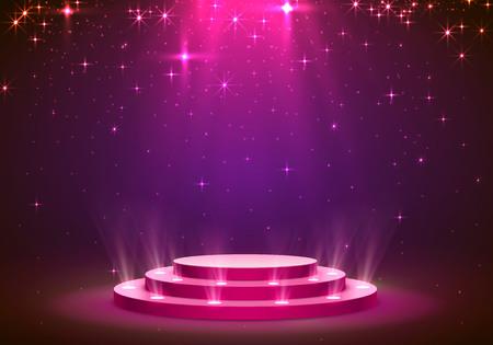 Mostra sfondo di stelle podio luce. Illustrazione vettoriale Vettoriali