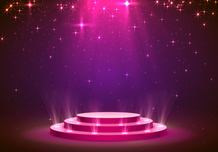 Show light podium stars background. Vector illustration Vettoriali
