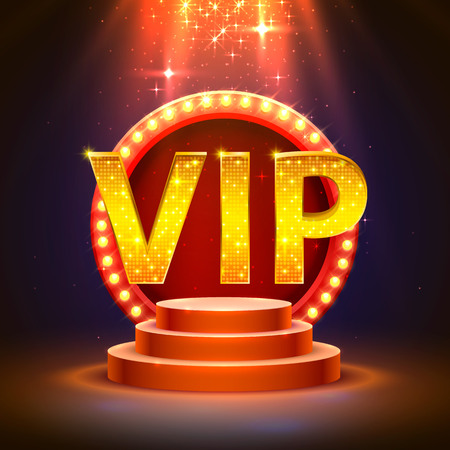 VIP podium with lighting, stage podium scene with for award ceremony on red background. Vector illustration Stock Photo
